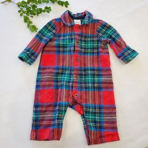 BABY BODEN cotton flannel plaid coverall jumpsuit